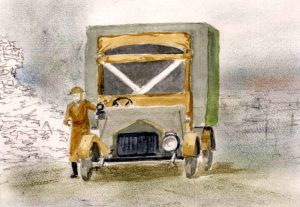 Sketch 3 of WW1 ambulance for The Last Post by BK Duncan