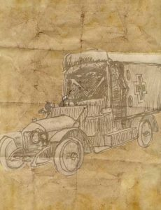 Sketch of WW1 ambulance for The Last Post by BK Duncan
