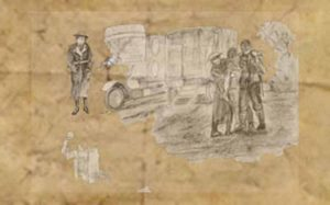 Sketch 2 of wounded soldiers in WW1 for The Last Post by BK Duncan
