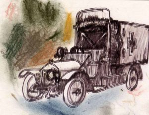 Sketch of May's ambulance in WW1 for The Last Post by BK Duncan