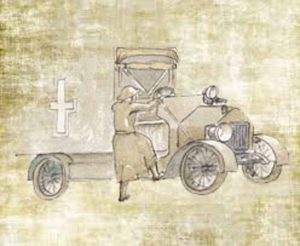 Sketch of May & her ambulance in WW1 for The Last Post by BK Duncan