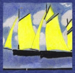 Yellow sailing boasts on blue. Pastel by Ruth Wade