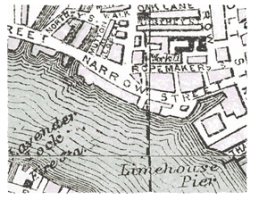 1920 map of Limehouse Reach in River Thames.