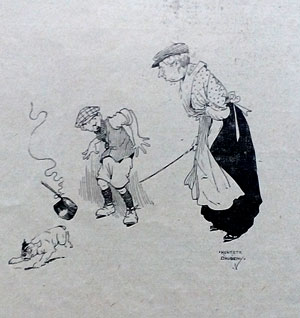 1913 cartoon. Dog and saucepan. Ruth Wade