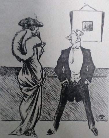 1913 cartoon. Man with monocle. Ruth Wade