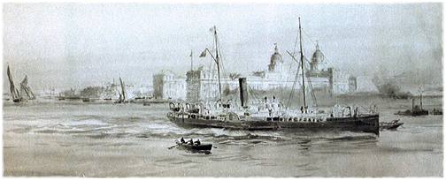 Watercolour of steam ship, rowing and sail boats off Greenwich.