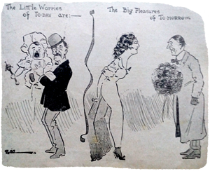 1914 The little worries cartoon. Ruth Wade