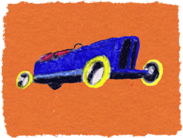 Blue racing car on orange. Pastel by Ruth Wade