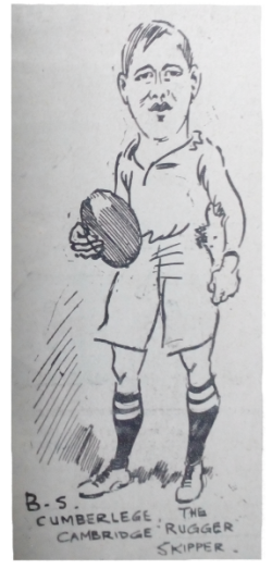 Rugby player Barry Cumberlege. 1913