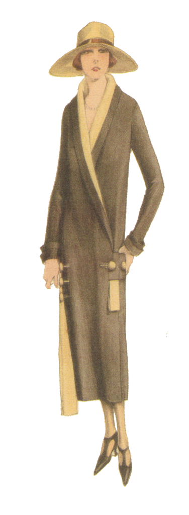 From 1920's dressmaking pattern. Brown and beige coat. Matching hat. Fashion 1920's style. Research by Ruth Wade