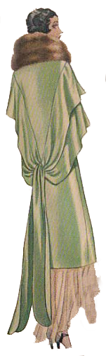 From 1920's dressmaking pattern. Green evening wrap. Fashion 1920's style. Research by Ruth Wade