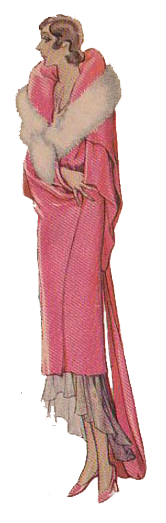 From 1920's dressmaking pattern. Pink evening wrap. Fashion 1920's style. Research by Ruth Wade