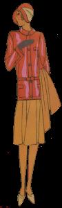 1920's female aviator. Cerise top, ochre skirt.
