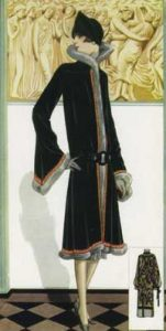 1920's fashion. Ruth Wade. Black and fur coat against deco frieze