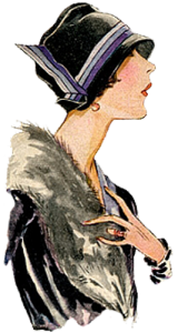 1920's hats. Military style black hat with purple and white ribbon. Research Ruth Wade