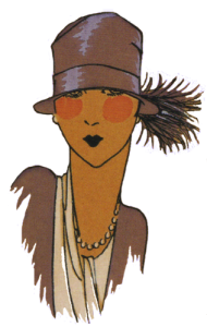 1920's hats. Brown small brimmed hat with feather. Research Ruth Wade
