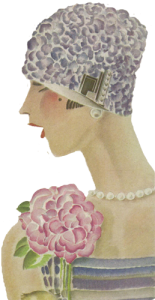 1920's hats. Lilac cloche. Research Ruth Wade