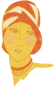 1920's hats. Orange and white cloche. Research Ruth Wade