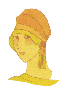 1920's hats. Orange hat with tassel. Research Ruth Wade