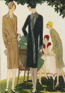 1920's fashion. Ruth Wade. Tea party under tree