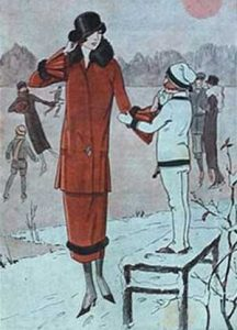 1920's fashion. Ruth Wade. Red winter coat in snow