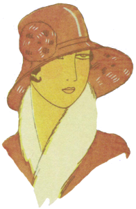 1920's hats. Red hat with flower. Research Ruth Wade