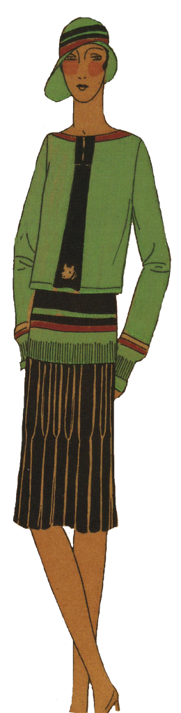 1920's woman in green sporting outfit. Research Ruth Wade