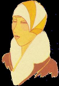 1920's hats. Orange and white sunburst cloche. Research Ruth Wade