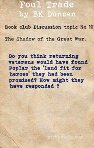 Foul Trade book club discussion topics: 10 in the shadow of the Great War