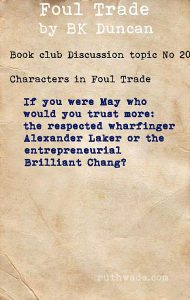 Foul Trade book club discussion topics: 20 characters