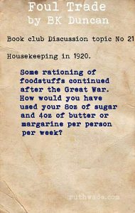 Foul Trade book club discussion topics: 21 housekeeping in 1920
