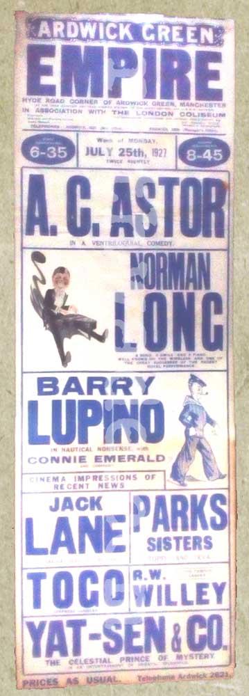 Ardwick Green Empire Variety Theatre playbill 1927.