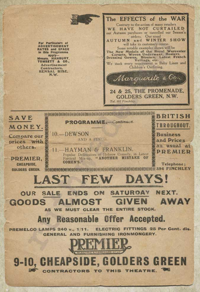 Golders Green Hippodrome variety programme 1914 page 7