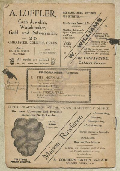 Golders Green Hippodrome variety programme 1914 page 6