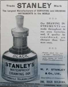 Stanley ink. Advert from 1914. Ruth Wade