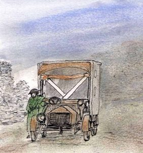 Sketch 2 of WW1 ambulance for The Last Post by BK Duncan