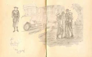 Sketch of wounded soldiers in WW1 for The Last Post by BK Duncan