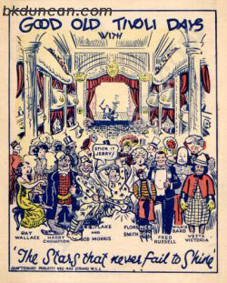 Theatre card for Tivoli 1933. BK Duncan