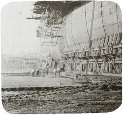 Lantern slide of launching a ship.