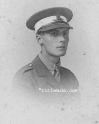 Family photograph of young man in WW1 uniform. Ruth Wade collection
