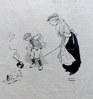 1913 cartoon. Dog and saucepan. Ruth Wade