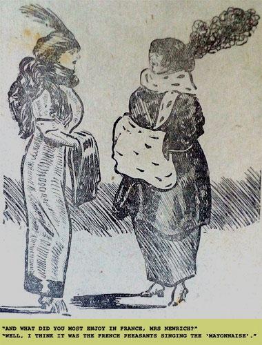 1914 cartoon. French mayonnaise. Ruth Wade