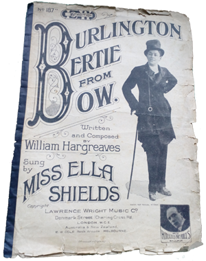 Burlington Bertie original music sheet 1914. Photo of Ella Shields