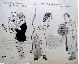 1914 The little worries cartoon. Ruth Wade