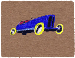 Blue racing car on brown. Pastel by Ruth Wade