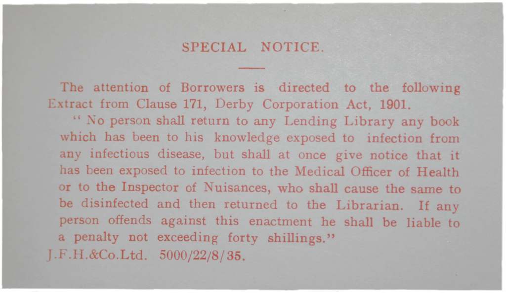 Infectious disease warning notice in library book. Ruth Wade