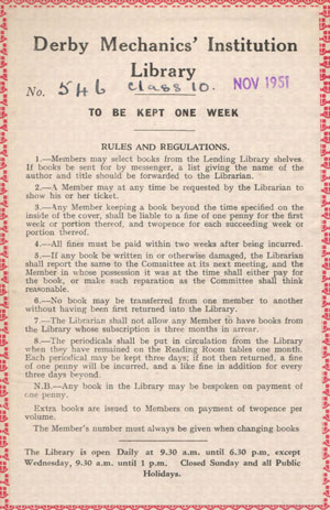 Library borrowing rules from 1951 notice inside book