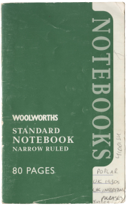 One of BK Duncan's vocab notebooks