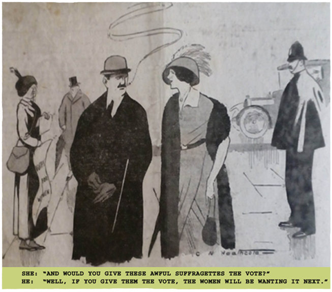1913 Votes for women cartoon. Ruth Wade