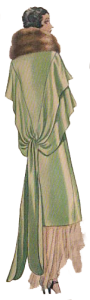 1920's fashion. Ruth Wade. Green evening wrap with fur trim